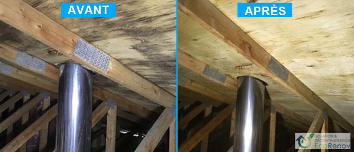 Décontamination moisissures entretoit, manque d'isolation dans le grenier